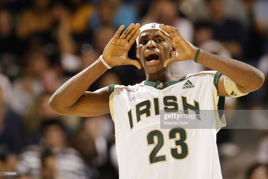 LeBron James #23 of St. Vincent-St. Mary's High School shouts out instructions during the Ninth Annual Pangos Dream Classic game against Mater Dei High School at UCLA's Pauley Pavilion on January 4, 2003 in Los Angeles, California.