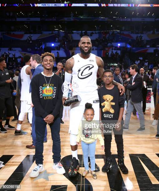 LeBron James of Team LeBron and family after receiving the MVP trophy for the NBA AllStar Game as a part of 2018 NBA AllStar Weekend at STAPLES...