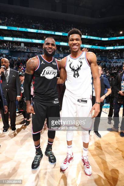 LeBron James of Team LeBron and Giannis Antetokounmpo of Team Giannis pose for a photo after the 2019 NBA AllStar Game on February 17 2019 at the...