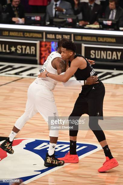 LeBron James of Team LeBron and Giannis Antetokounmpo of Team Stephen hug before the NBA AllStar Game as a part of 2018 NBA AllStar Weekend at...