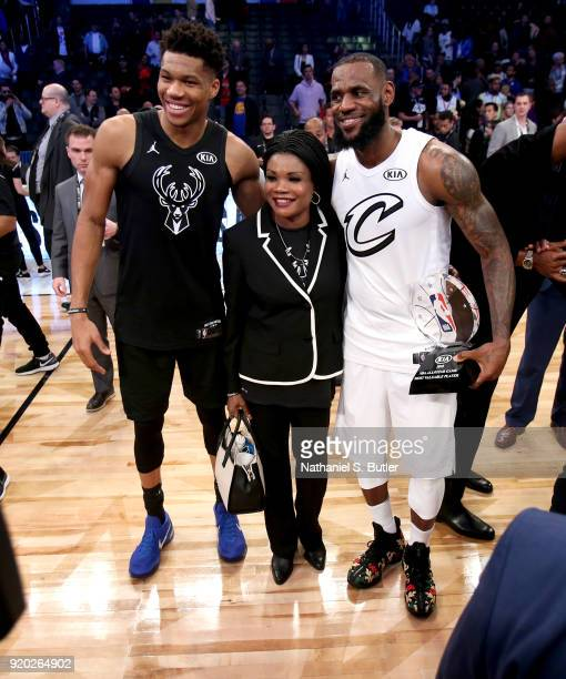 LeBron James of Team LeBron and Giannis Antetokounmpo of Team Stephen after the NBA AllStar Game as a part of 2018 NBA AllStar Weekend at STAPLES...