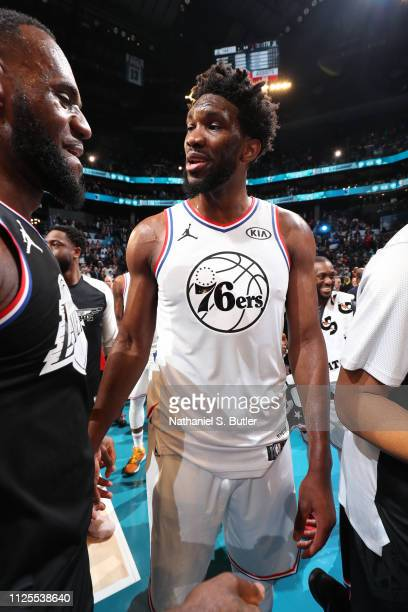 LeBron James of Team LeBron and Joel Embiid of Team Giannis talk after the 2019 NBA AllStar Game on February 17 2019 at the Spectrum Center in...