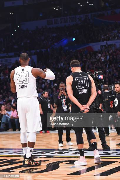 LeBron James of Team LeBron and Stephen Curry of Team Stephen talk to the crowd during the NBA AllStar Game as a part of 2018 NBA AllStar Weekend at...