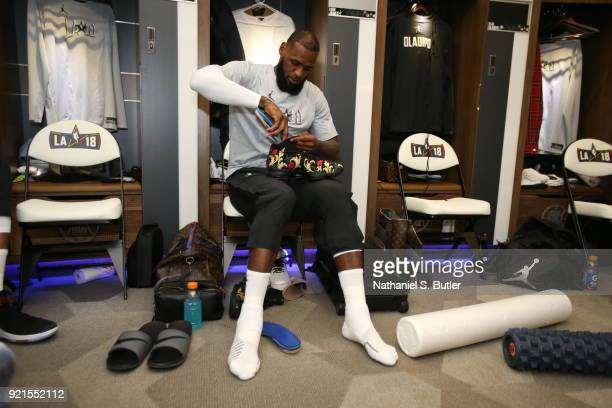 LeBron James of Team LeBron before the game against Team Stephen during the NBA AllStar Game as a part of 2018 NBA AllStar Weekend at STAPLES Center...
