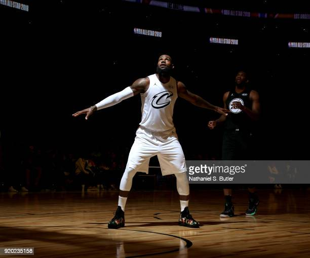 LeBron James of Team LeBron boxes out during the game against Team Stephen during the NBA AllStar Game as a part of 2018 NBA AllStar Weekend at...