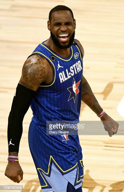 LeBron James of Team LeBron celebrates after beating Team Giannis during the 69th NBA All-Star Game at the United Center on February 16, 2020 in...