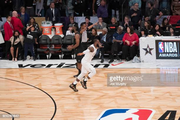 LeBron James of Team LeBron celebrates after the game against Team Stephen during the NBA AllStar Game as a part of 2018 NBA AllStar Weekend at...