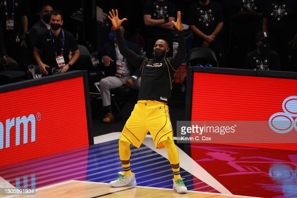 Lebron James of Team LeBron celebrates against Team Durant during the first half in the 70th NBA All-Star Game at State Farm Arena on March 07, 2021...