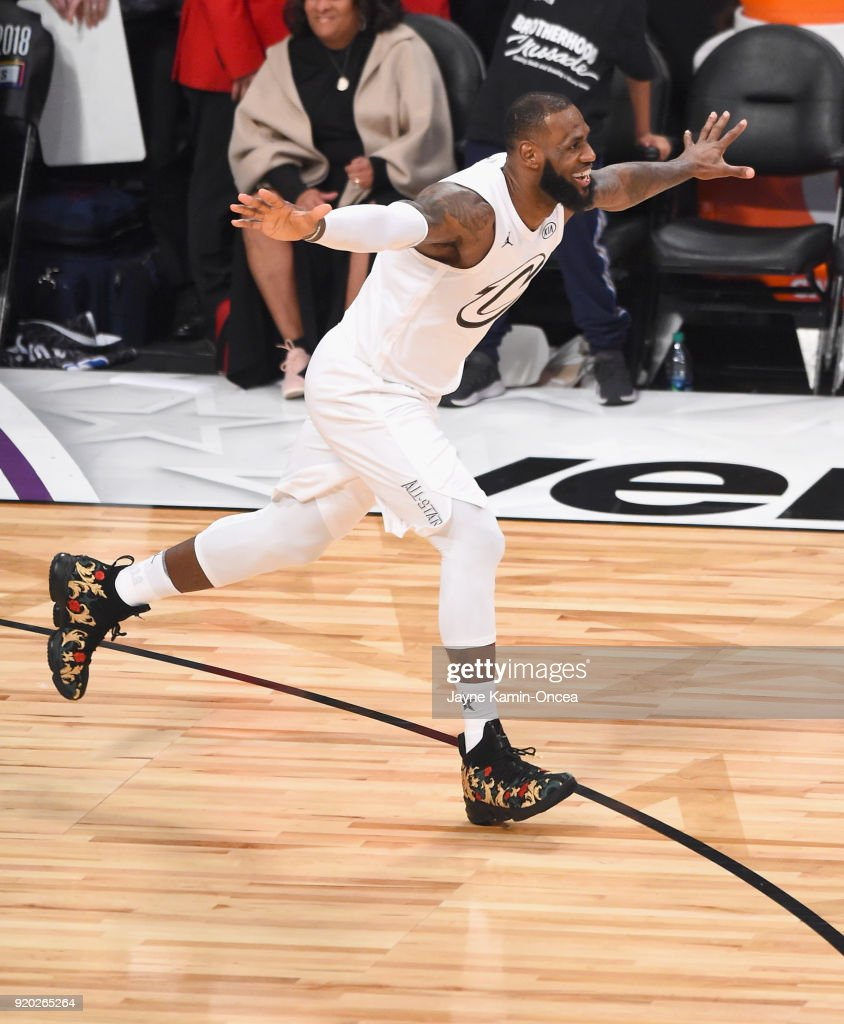 LeBron James #23 of Team LeBron celebrates during the NBA All-Star Game 2018 at Staples Center on February 18, 2018 in Los Angeles, California.