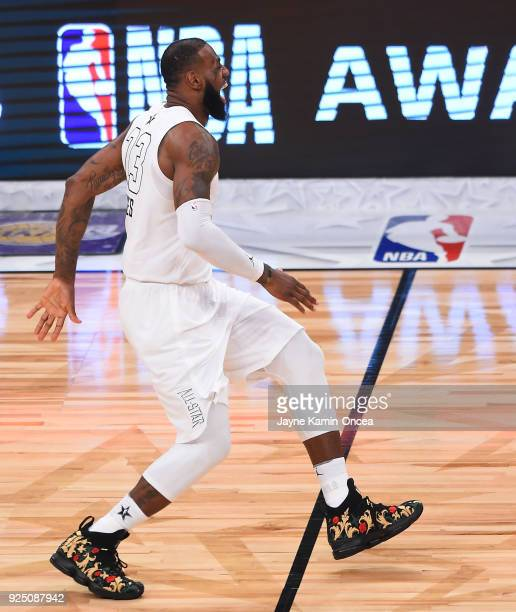LeBron James of Team LeBron celebrates winning the NBA AllStar Game 2018 at Staples Center on February 18 2018 in Los Angeles California