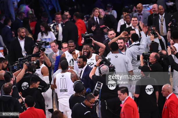 LeBron James of team LeBron celebrates with his teammates during the NBA AllStar Game as a part of 2018 NBA AllStar Weekend at STAPLES Center on...