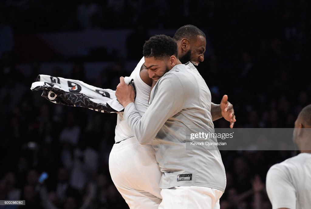 LeBron James #23 of Team LeBron celebrates with teammate Anthony Davis #23 after the end of the NBA All-Star Game 2018 at Staples Center on February 18, 2018 in Los Angeles, California. Team LeBron won the game 148-145.