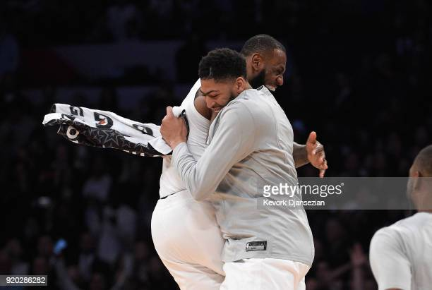 LeBron James of Team LeBron celebrates with teammate Anthony Davis after the end of the NBA AllStar Game 2018 at Staples Center on February 18 2018...