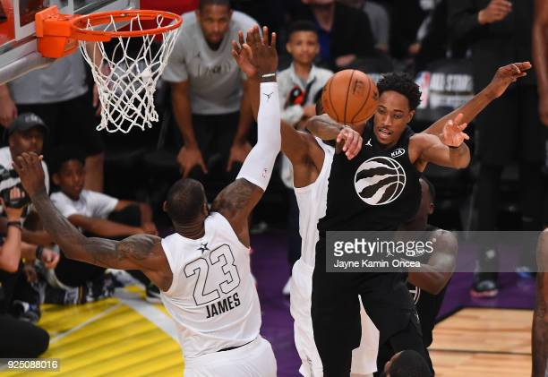 LeBron James of Team LeBron defends a pass by DeMar DeRozan of Team Stephen during the NBA AllStar Game 2018 at Staples Center on February 18 2018 in...