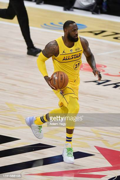LeBron James of Team LeBron dribbles the ball during the 70th NBA All Star Game as part of 2021 NBA All Star Weekend on March 7, 2021 at State Farm...