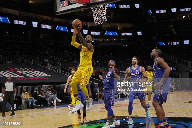 LeBron James of Team LeBron drives to the basket during the 70th NBA All Star Game as part of 2021 NBA All Star Weekend on March 7, 2021 at State...