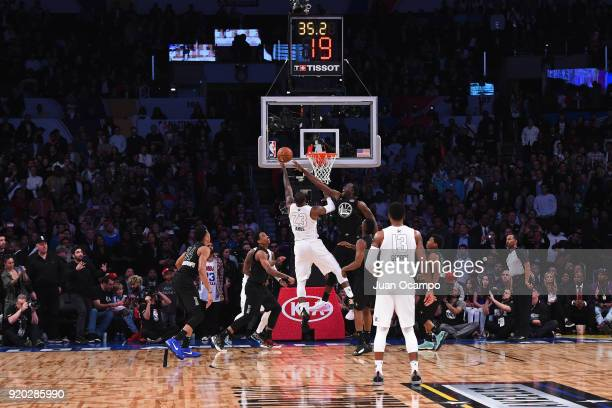 LeBron James of Team LeBron drives to the basket during the NBA AllStar Game as a part of 2018 NBA AllStar Weekend at STAPLES Center on February 18...