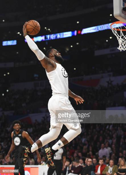 LeBron James of Team LeBron dunks during the NBA AllStar Game 2018 at Staples Center on February 18 2018 in Los Angeles California