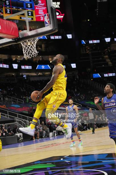 LeBron James of Team LeBron dunks the ball against Team Durant during the 70th NBA All Star Game as part of 2021 NBA All Star Weekend on March 7,...