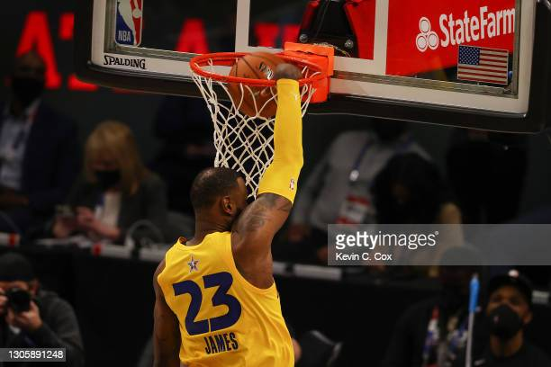 Lebron James of Team LeBron dunks the ball against Team Durant in the 70th NBA All-Star Game at State Farm Arena on March 07, 2021 in Atlanta,...
