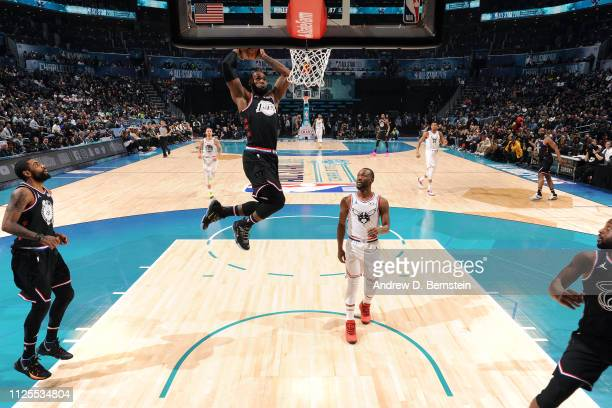 LeBron James of Team LeBron dunks the ball against Team Giannis during the 2019 NBA AllStar Game on February 17 2019 at the Spectrum Center in...
