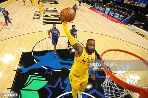 LeBron James of Team LeBron dunks the ball during the 70th NBA All Star Game as part of 2021 NBA All Star Weekend on March 7, 2021 at State Farm...