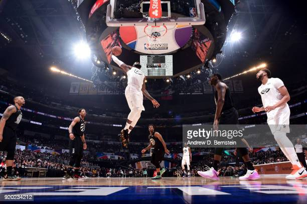 LeBron James Of Team LeBron dunks the ball during the NBA AllStar Game as a part of 2018 NBA AllStar Weekend at STAPLES Center on February 18 2018 in...