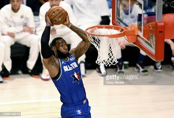 LeBron James of Team LeBron dunks the ball in the first quarter ah during the 69th NBA AllStar Game at the United Center on February 16 2020 in...