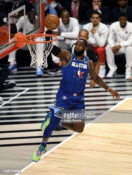 LeBron James of Team LeBron dunks the ball in the third quarter against Team Giannis during the 69th NBA AllStar Game at the United Center on...