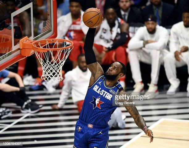 LeBron James of Team LeBron dunks the ball in the third quarter against Team Giannis during the 69th NBA All-Star Game at the United Center on...