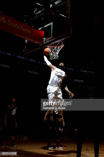 LeBron James of Team LeBron goes to the basket against Team Stephen during the NBA AllStar Game as a part of 2018 NBA AllStar Weekend at STAPLES...