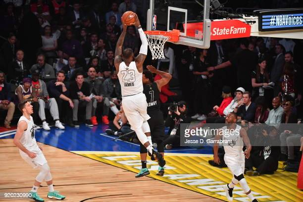 LeBron James of Team LeBron goes up for the dunk against Team Curry during the NBA AllStar Game as a part of 2018 NBA AllStar Weekend at STAPLES...