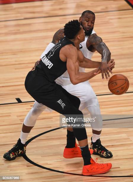 LeBron James of Team LeBron guards Giannis Antetokounmpo of Team Stephen during the NBA AllStar Game 2018 at Staples Center on February 18 2018 in...