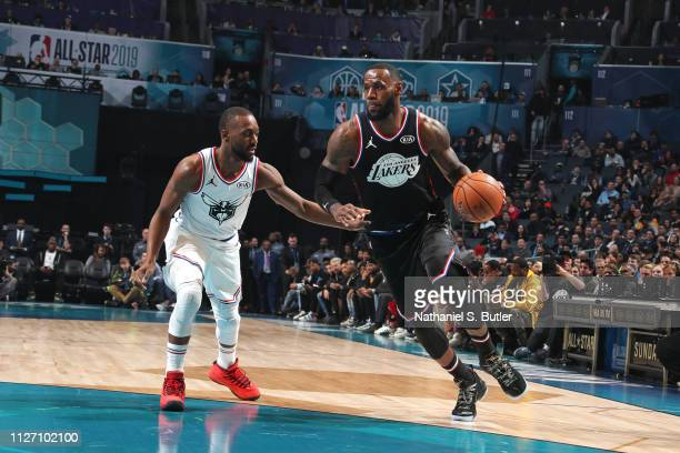 LeBron James of Team LeBron handles the ball against Kemba Walker of Team Giannis during the 2019 NBA AllStar Game on February 17 2019 at the...
