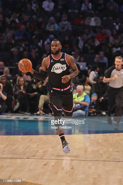 LeBron James of Team LeBron handles the ball against Team Giannis during the 2019 NBA AllStar Game on February 17 2019 at the Spectrum Center in...