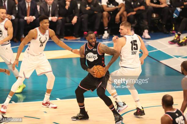 LeBron James of Team LeBron handles the ball during the 2019 NBA AllStar Game on February 17 2019 at the Spectrum Center in Charlotte North Carolina...
