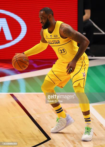 Lebron James of Team LeBron handles the ball on offense against Team Durant during the first half in the 70th NBA All-Star Game at State Farm Arena...