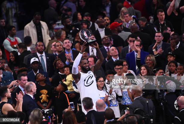 LeBron James of team LeBron holds the MVP trophy during the NBA AllStar Game as a part of 2018 NBA AllStar Weekend at STAPLES Center on February 18...