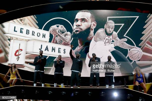 LeBron James of Team LeBron is introduced before the NBA AllStar Game as a part of 2018 NBA AllStar Weekend at STAPLES Center on February 18 2018 in...