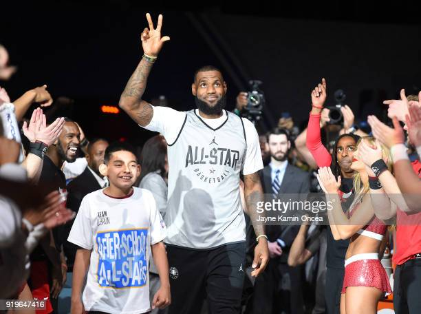 LeBron James of Team LeBron is introduced for for the upcoming 2018 NBA AllStar game during practice at the Verizon Up Arena at LACC on February 17...
