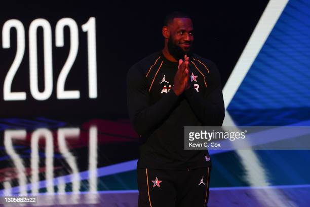 Lebron James of Team LeBron is introduced prior to the 70th NBA All-Star Game at State Farm Arena on March 07, 2021 in Atlanta, Georgia.