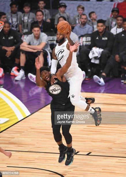 LeBron James of Team LeBron jumps over Joel Embiid of Team Stephen during the NBA AllStar Game 2018 at Staples Center on February 18 2018 in Los...