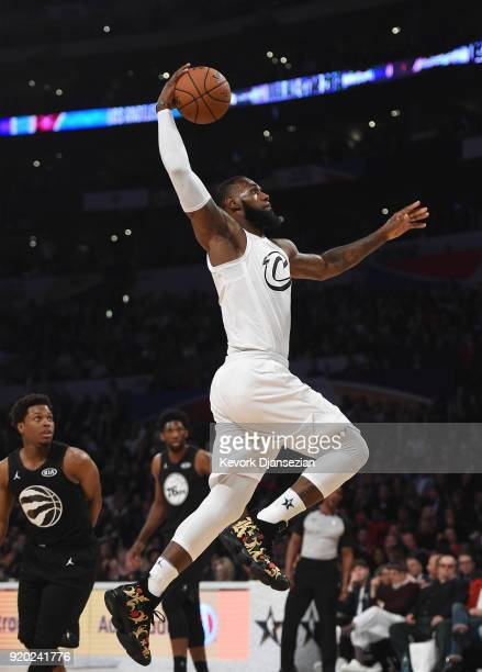 LeBron James of Team LeBron jumps to the basket for a dunk during the NBA AllStar Game 2018 at Staples Center on February 18 2018 in Los Angeles...