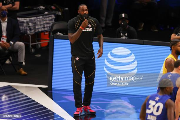 Lebron James of Team LeBron looks on during the second half against Team Durant in the 70th NBA All-Star Game at State Farm Arena on March 07, 2021...