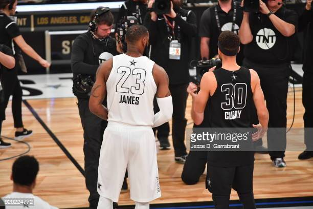 LeBron James of Team LeBron looks on Stephen Curry of Team Curry during the NBA AllStar Game as a part of 2018 NBA AllStar Weekend at STAPLES Center...