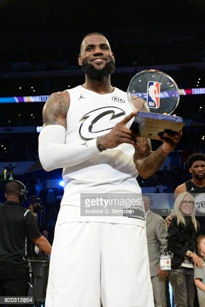 LeBron James Of Team LeBron raises the MVP award during the NBA AllStar Game as a part of 2018 NBA AllStar Weekend at STAPLES Center on February 18...