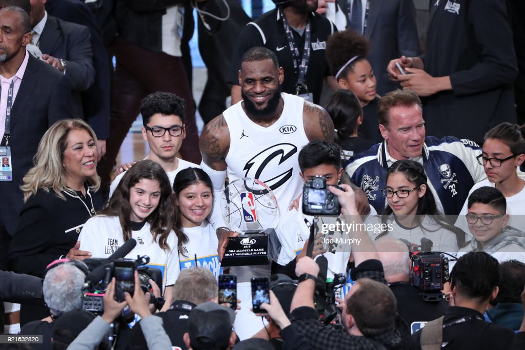 LeBron James #23 of team LeBron raises the MVP trophy after winning at the NBA All-Star Game as a part of 2018 NBA All-Star Weekend at STAPLES Center on February 18, 2018 in Los Angeles, California.