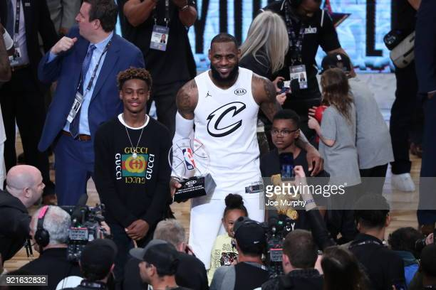 LeBron James of team LeBron raises the MVP trophy after winning at the NBA AllStar Game as a part of 2018 NBA AllStar Weekend at STAPLES Center on...