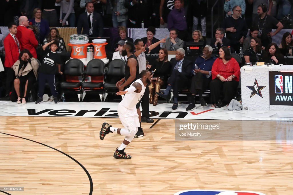 LeBron James #23 of team LeBron reacts after winning at the NBA All-Star Game as a part of 2018 NBA All-Star Weekend at STAPLES Center on February 18, 2018 in Los Angeles, California.