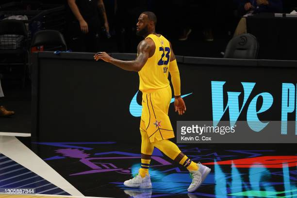 Lebron James of Team LeBron reacts against Team Durant during the first half in the 70th NBA All-Star Game at State Farm Arena on March 07, 2021 in...
